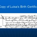Luisa's Birth Certificate